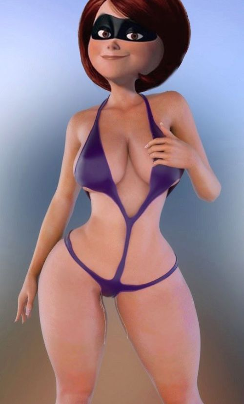 Picture- 3d big_breasts bikini breasts brown_hair cartoon disney elastagirl helen_parr mask masked pixar posing pov tagme the_incredibles wide_hips